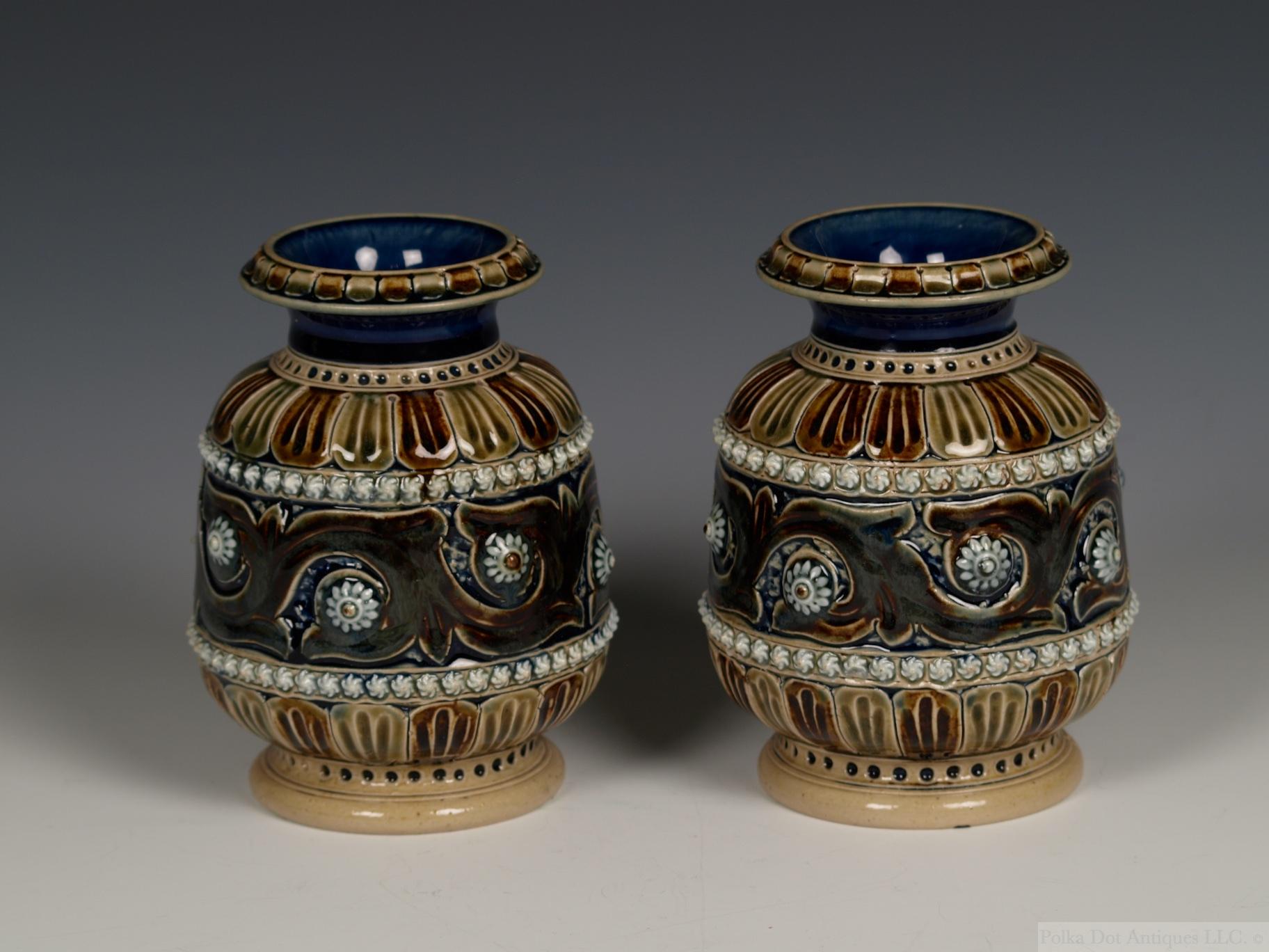"Pair of Doulton Lambeth Salt-Glazed Stoneware Vases, 1875, by Eliza Simmance, 4¾"" (12.5 cm)."