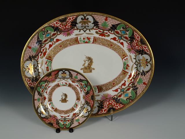 Flight, Barr & Barr Worcester Armorial 'Japan Pattern' Part Dinner Service, 1815-20, with crest of a unicorn head on ducal coronet