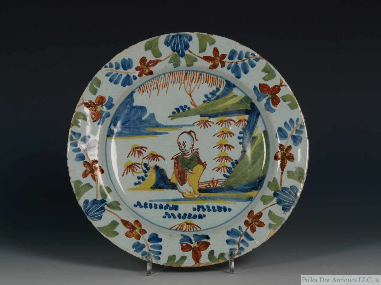 "English Delftware Polychrome Chinoiserie Plate, Bristol, 1730-40, painted in red, blue yellow and green, 6¾""."