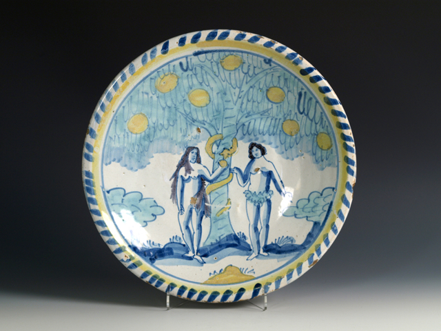"EnglishDelftware Adam and Eve Blue Dash Charger, 1690 - 1710, possibly Lambeth, 13 1/8 "" diam."