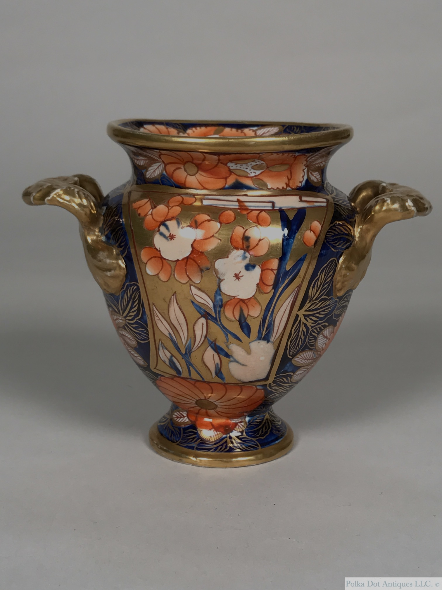 "Mason's Ironstone School House Pattern Two Handled Vase, circa 1820, 5""."