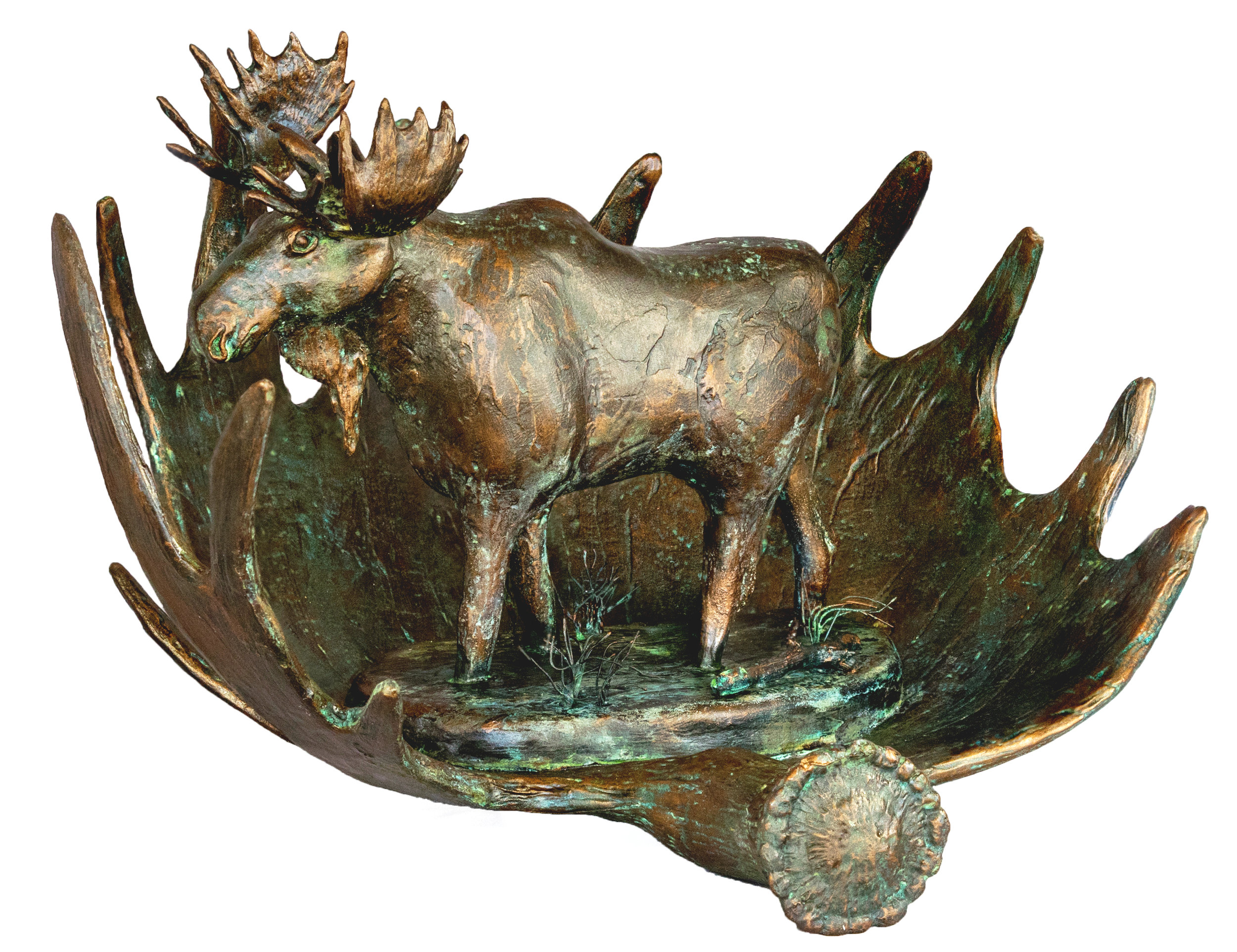 """""""Moose in Marsh"""" Created in 2017 All gourd except for required metal armature."""
