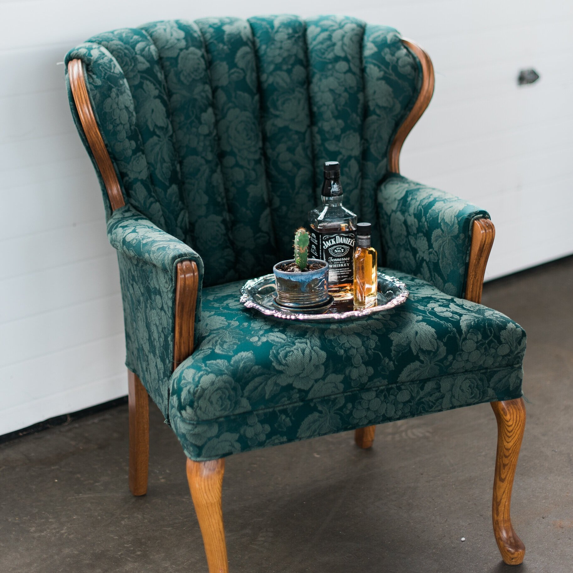 Green Floral Chair