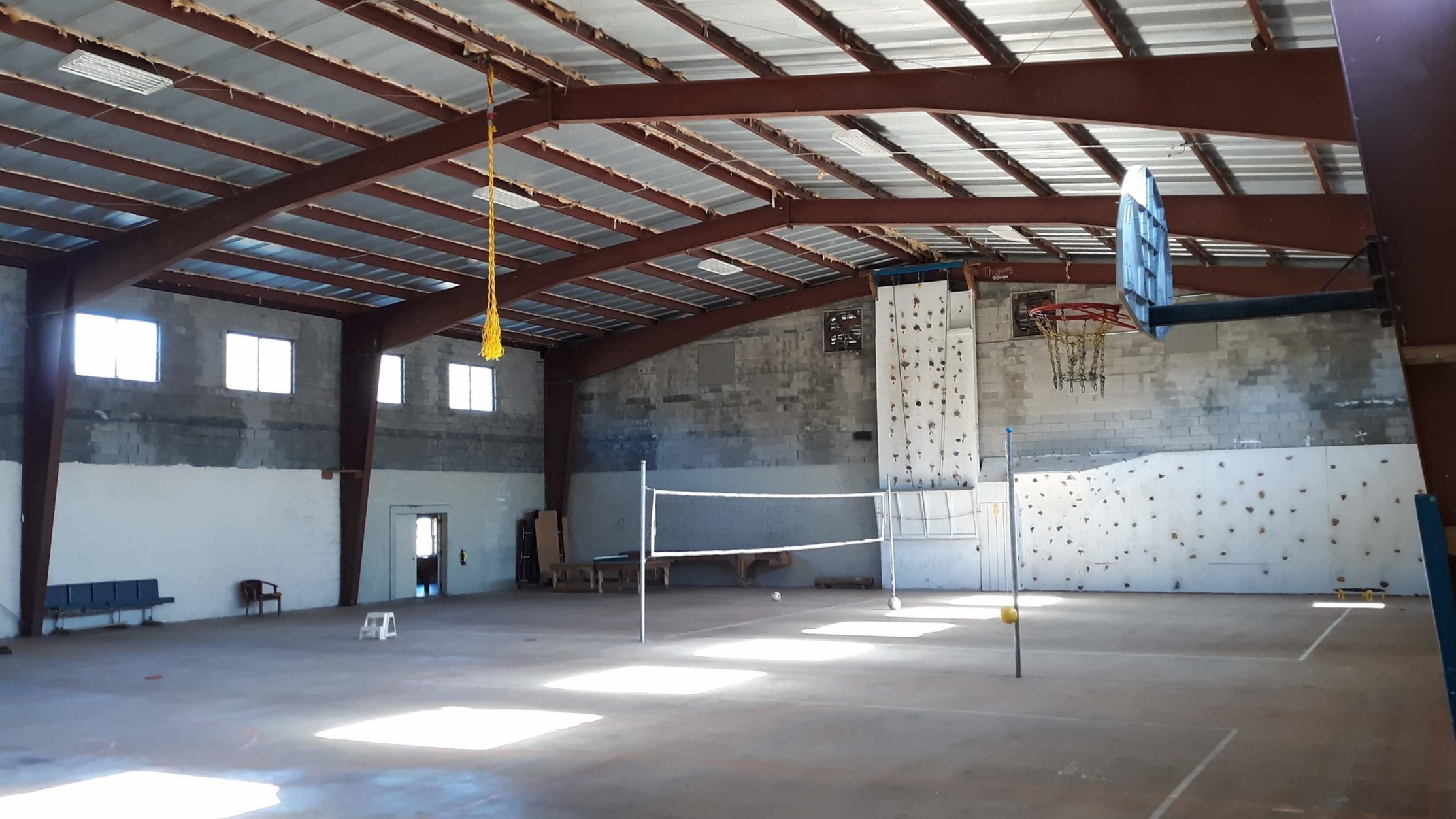 Gymnasium - Game Room - Playground Area with basketball, volleyball, climbing wall, table tennis, carpet pool, foosball, air hockey, 9 Square in the Air, Gaga Ball, Disc Golf, Fort and Slide.
