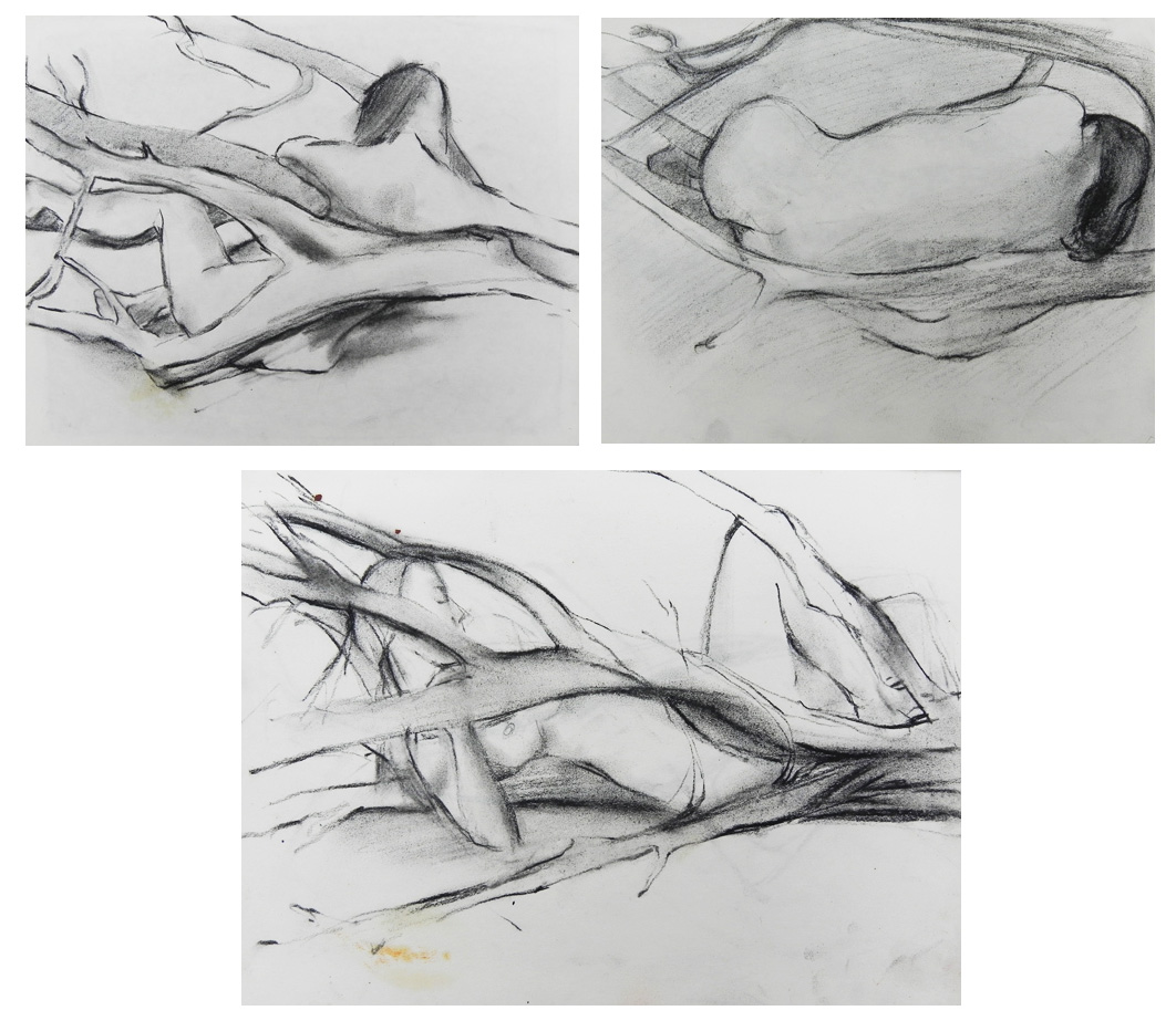 "Teresa Welch, charcoal/paper, each approx. 8"" x 10"",  Drawings done in Jeswald class: Drawing and Painting as Expression , 1978"