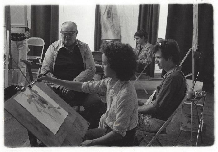 Paul Scott with Terry Welch and Montserrat students, Montserrat School of Visual Art, Beverly, MA, 1979     Photo by Kenton Sharp