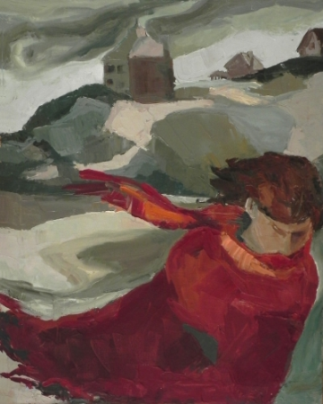 "Teresa Welch , Self-Portrait at Good Harbor Beach ,  Gloucester ,oil/canvas, 30"" x 24"", 1976"