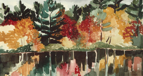 "Teresa Welch,  Concord Woods , watercolor, 15"" x 30"""