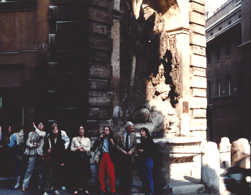 Professor Ivan Galantic with Harvard Extension School and Tufts University students. Rome, Italy ,  April, 1982              Photo by Teresa Welch