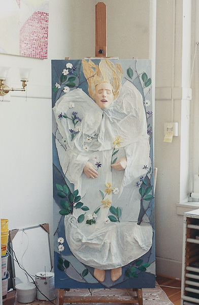 "Teresa Welch,  Myself as Ophelia , acrylic and mixed media relief on canvas, 30"" x 68"", 1990"