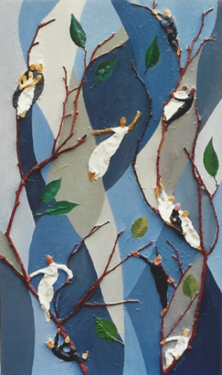 "Teresa Welch,  Letting Go,  Oil and mixed media relief on canvas, 34"" x 20"", 1990"