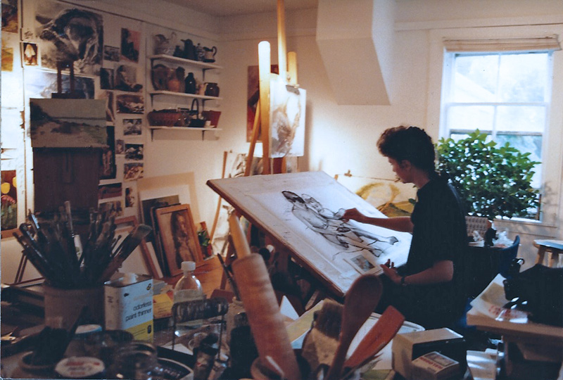 Teresa Welch starting a portrait commission in her studio, Yarmouthport, 1994                               photo by Maria M., visitor to T.Welch Studio/Gallery