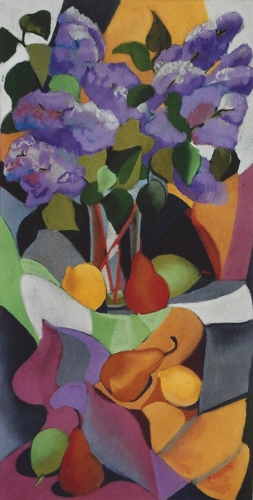 "Teresa Welch,  Lilacs and Frui t, pastel, 30"" x 15"", 1991"