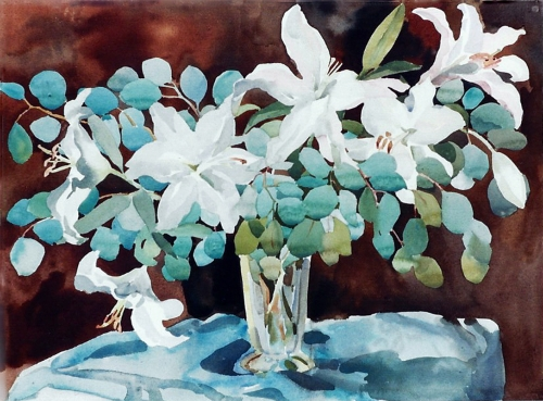 "Teresa Welch,  Vase Of Lilies , watercolor, 22"" x 30"", 1993"