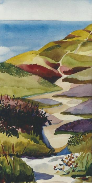 "Teresa Welch,  Provincelands 2 , watercolor, 30"" x 22"", 1992"