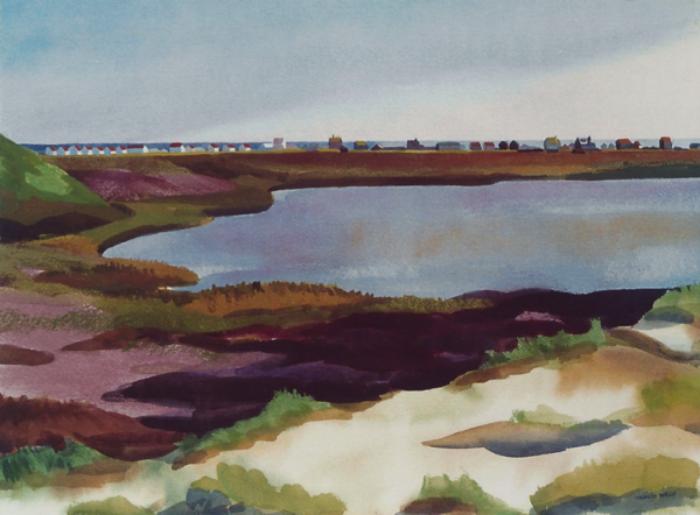 """Teresa Welch.  Pilgrim Lake , watercolor/pastel, 22"""" x 30"""", 1993"""