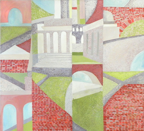 "Teresa Welch,  Windows and Bridges , oil/canvas, 44"" x 48"", 1989"