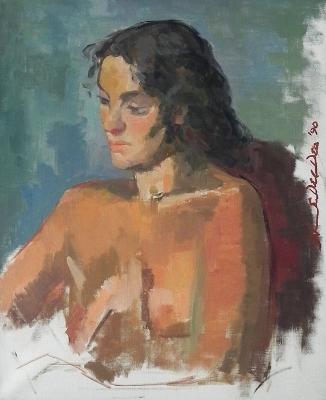 """Salvatore Del Deo,  Niccolleta Poli , oil/linen, 24"""" x 20"""", 1990"""