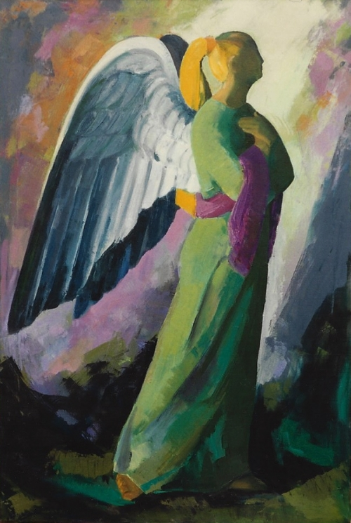 "Teresa Welch,  Angel of Humility, oil/canvas, 40"" x 27"", 1992"
