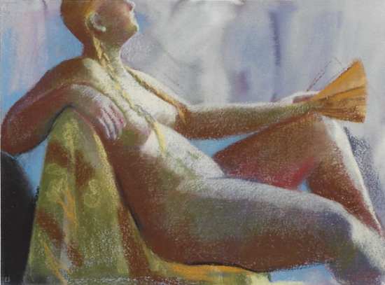 """Teresa Welch,  Model with a Fan,  watercolor and pastel on rag paper ,  22"""" x 30"""", 1993"""