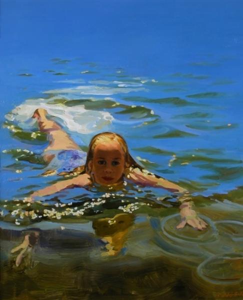 """Teresa Baksa,  Katie Swimming,  oil/linen, 35"""" x 28"""", 1998"""