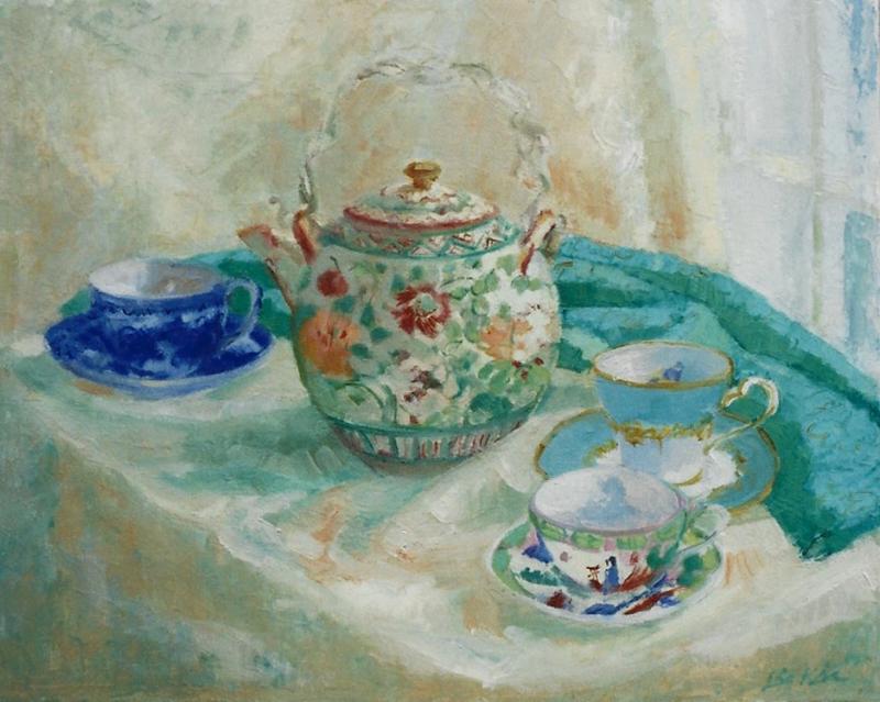 "Teresa Baksa, Japanese Teapot, oil/linen, 16"" x 20"", 1999"