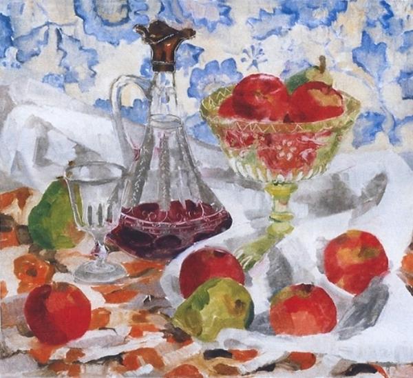 "Teresa Baksa,  Decanter and Fruit,  oil monotype, 17"" x 18"", 1999"