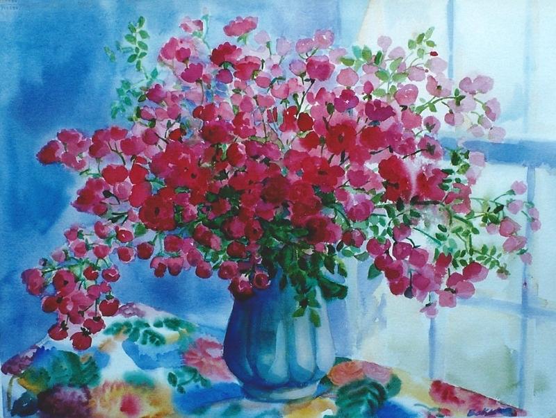"Teresa Baksa,  Cape Roses , watercolor, 22"" x 30"", 1998"