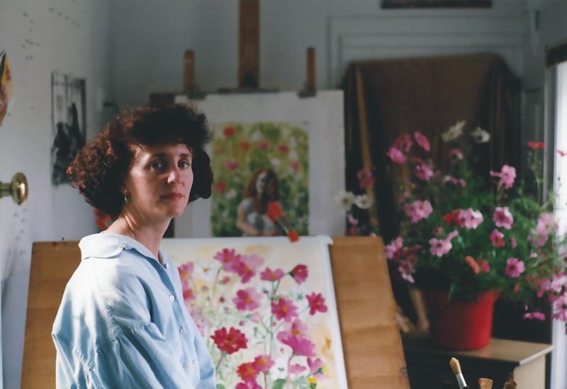 Teresa Baksa in her studio at Baksa Studio, Route 6A, Dennis Village, 1999.