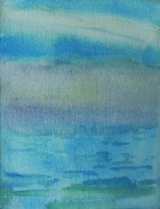 "Teresa Baksa,  Cerulean Sea , watercolor, 10"" x 8"", 2000"