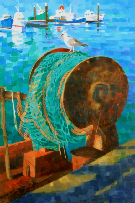 "Teresa Baksa,  Fishing Net , oil/canvas, 36"" x 24"", 2004"