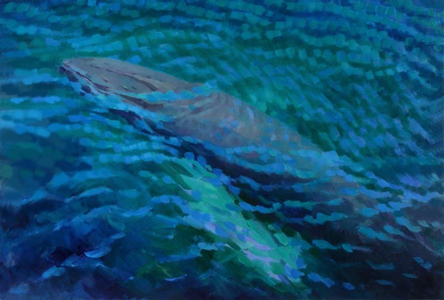 "Teresa Baksa,  Humpback Rising,  oil on canvas, 40"" x 60"", 2004"