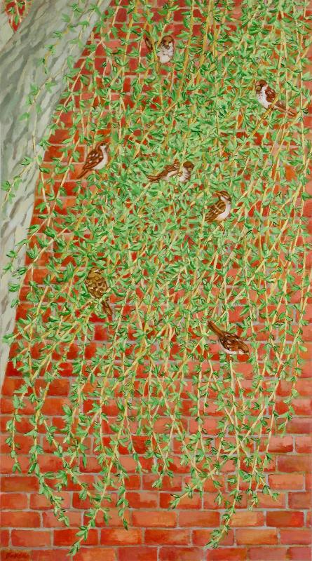 """Teresa Baksa,  Sparrows In A Willow , oil/linen, 36"""" x 20"""""""