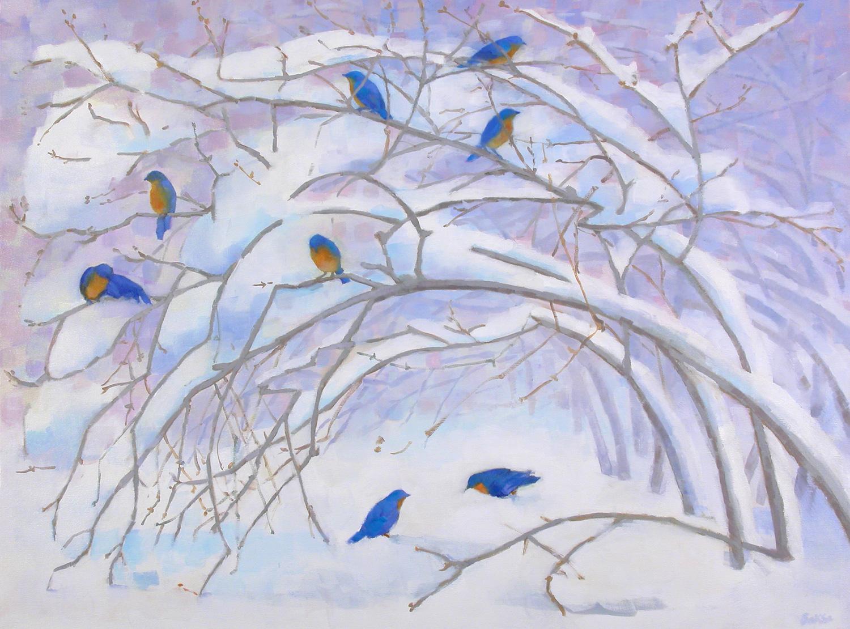 "Teresa Baksa,  Bluebirds In Winter,  oil/canvas, 30"" x 40"""