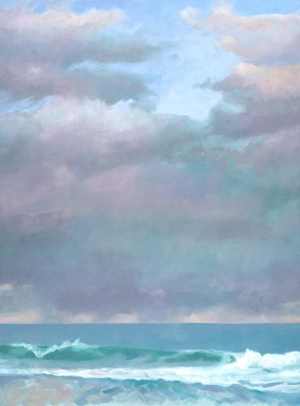 "Teresa Baksa, Big Purple-Green Cloud, oil/linen, 48"" x 36"""