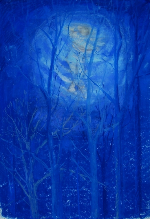 "Teresa Baksa,  Spinning Through Treetops,(Study for Becoming A Star),  pastel over giclee print of  A Celestial Feeling ,  19"" x 13"", 2013"