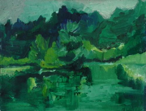 "Teresa Welch,  Partridge Pond, Acton , oil/canvas, 11"" x 14"", 1978"