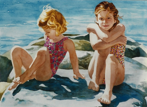 "Teresa Welch,  Jamie and Sara,  watercolor, 22"" x 30"", 1994"