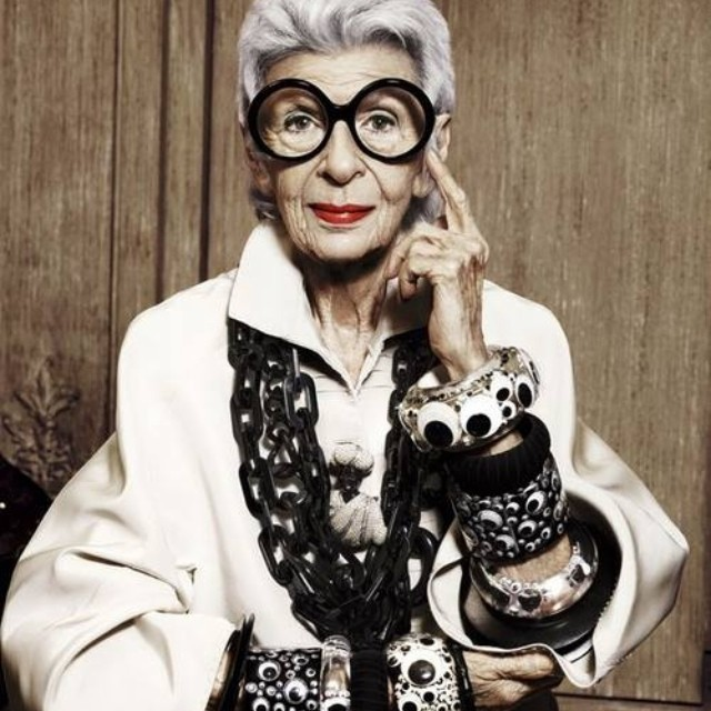"Iris Apfel - ""I don't dress to be stared at, I dress for myself"".      image via www.samiasays.com"