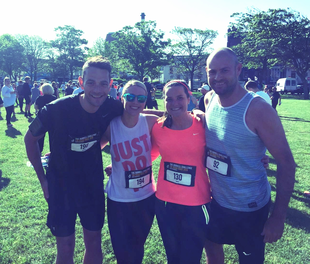 Literally running up hill with friends over the weekend in the Durrell 13k Challenge.