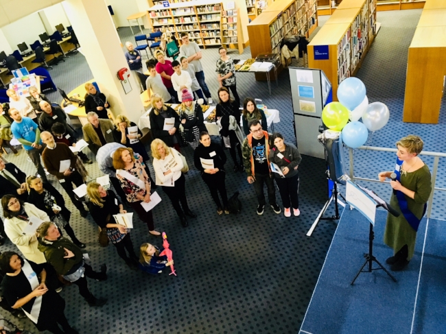 Beth Moore, College Manager,addresses supporters at their first anniversary party