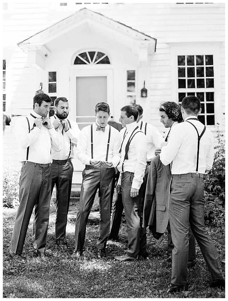 Groomsmen at Massachusetts wedding, black and white