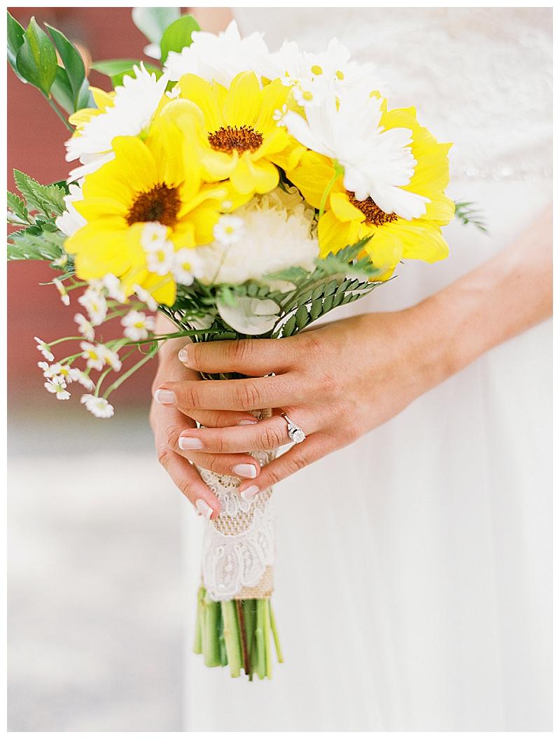 Sunflower bouquet for Berkshire wedding