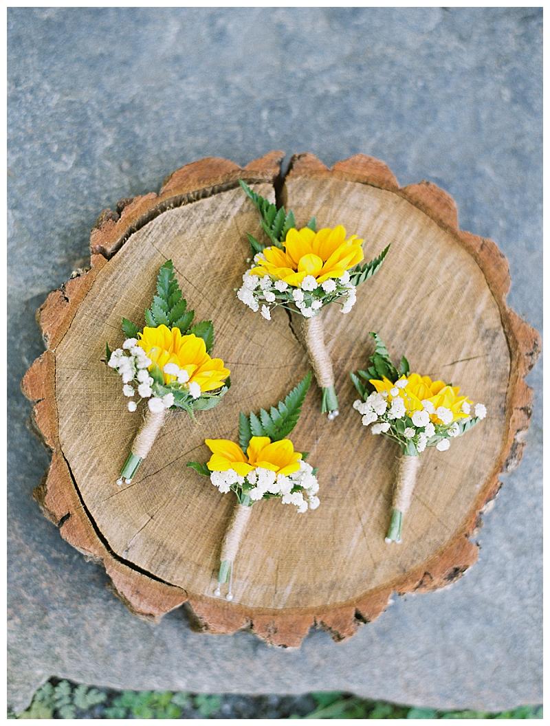 Sunflower boutonnieres for Gedney Farm wedding