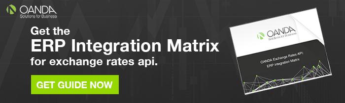 OANDA's ERP Integration Maxtrix for Exchange Rates
