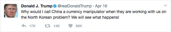 Trump's Tweet on China and North Korea