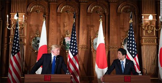 US President Trump alongside Japanese Prime Minister Shinzo Abe. Photo courtesy of CNN, watch full video here:https://goo.gl/VnXtj4
