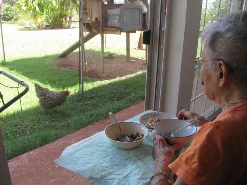 Yasuda enjoys watching the chickens—and family members—come and go as she has her lunch.