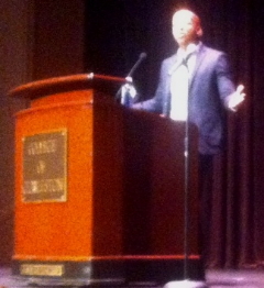 "Bryan Stevenson, founder of the Equal Justice Initiative, speaking at the second event in the College of Charleston's ""Race and Social Justice Initiative,"" Thursday night at the Sottile Theatre."