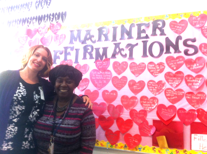 Memminger Principal Dr. Abigal Woods and Kindergarten teacher Gloria Murray.